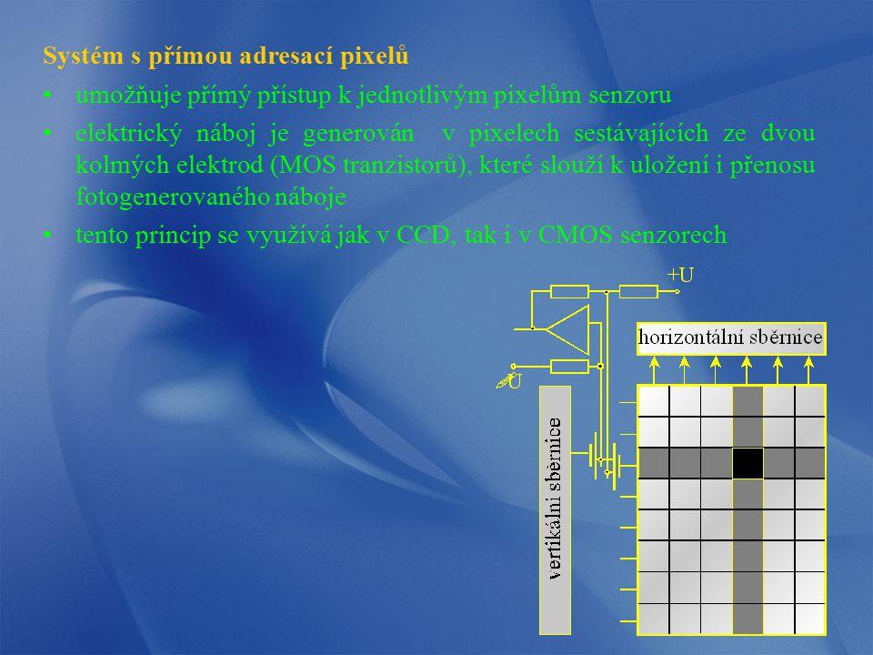 Systém s přímou adresací pixelů umožňuje přímý přístup k jednotlivým pixelům senzoru elektrický náboj je generován v pixelech sestávajících ze dvou ko