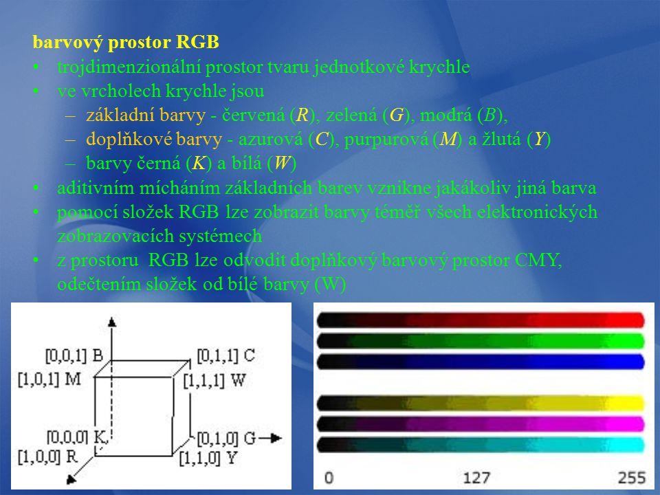 barvový prostor RGB trojdimenzionální prostor tvaru jednotkové krychle ve vrcholech krychle jsou –základní barvy - červená (R), zelená (G), modrá (B),
