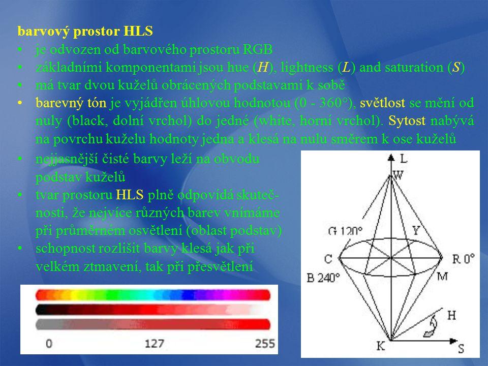 barvový prostor HLS je odvozen od barvového prostoru RGB základními komponentami jsou hue (H), lightness (L) and saturation (S) má tvar dvou kuželů ob