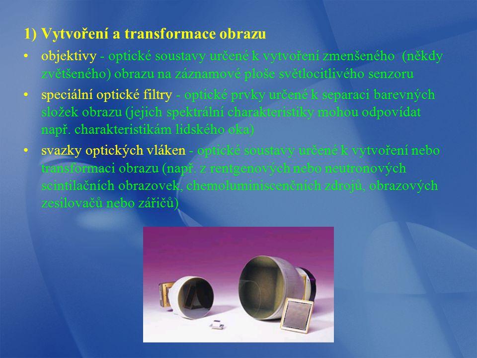 1) Vytvoření a transformace obrazu objektivy - optické soustavy určené k vytvoření zmenšeného (někdy zvětšeného) obrazu na záznamové ploše světlocitli