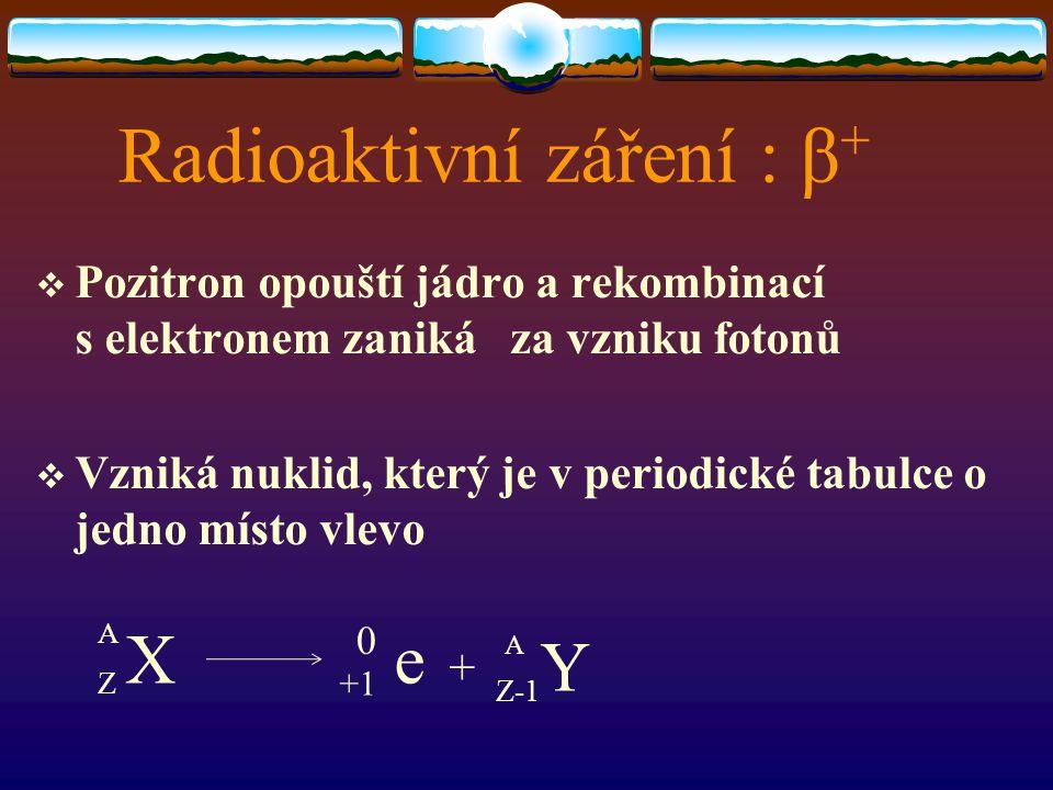 Radioaktivní záření : β +  Pozitron opouští jádro a rekombinací s elektronem zaniká za vzniku fotonů  Vzniká nuklid, který je v periodické tabulce o