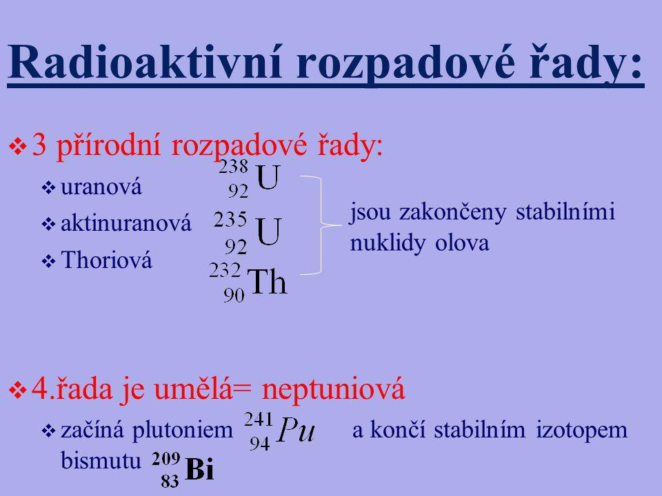 Radioaktivní rozpadové řady:  3 přírodní rozpadové řady:  uranová  aktinuranová  Thoriová  4.řada je umělá= neptuniová  začíná plutoniem a končí