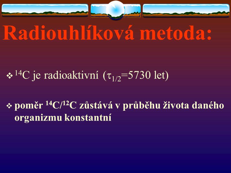 Radiouhlíková metoda:  14 C je radioaktivní (  1/2 =5730 let)  poměr 14 C/ 12 C zůstává v průběhu života daného organizmu konstantní