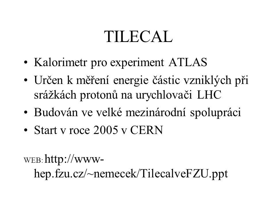 TILECAL Kalorimetr pro experiment ATLAS Určen k měření energie částic vzniklých při srážkách protonů na urychlovači LHC Budován ve velké mezinárodní s