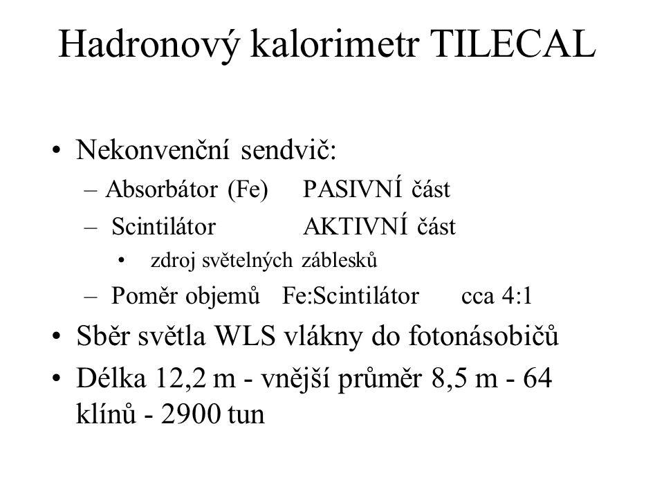 Hadronový kalorimetr TILECAL Nekonvenční sendvič: –Absorbátor (Fe) PASIVNÍ část – Scintilátor AKTIVNÍ část zdroj světelných záblesků – Poměr objemů Fe