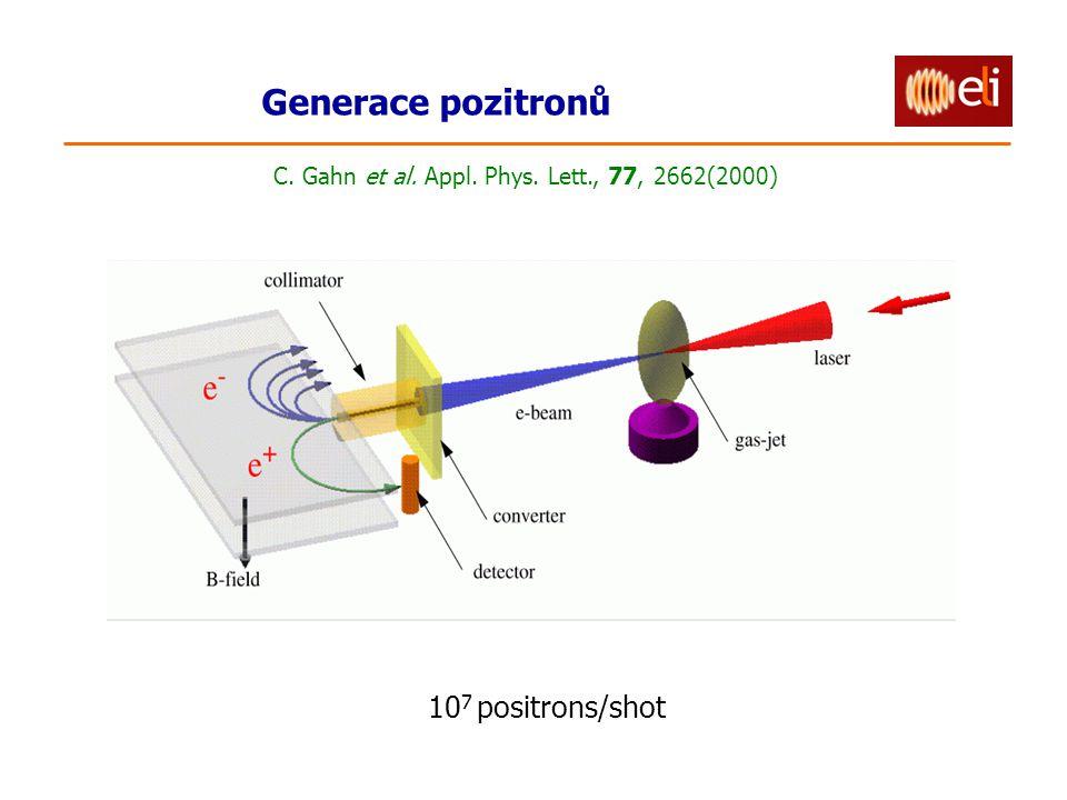 Generace pozitronů 10 7 positrons/shot C. Gahn et al. Appl. Phys. Lett., 77, 2662(2000)