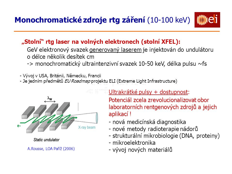 """Monochromatické zdroje rtg záření (10-100 keV) A.Rousse, LOA Paříž (2006) """"Stolní rtg laser na volných elektronech (stolní XFEL): GeV elektronový svazek generovaný laserem je injektován do undulátoru o délce několik desítek cm -> monochromatický ultraintenzivní svazek 10-50 keV, délka pulsu ~fs - Vývoj v USA, Británii, Německu, Francii - Je jedním předmětů EU Roadmap projektu ELI (Extreme Light Infrastructure) Ultrakrátké pulsy + dostupnost: Potenciál zcela zrevolucionalizovat obor laboratorních rentgenových zdrojů a jejich aplikací Potenciál zcela zrevolucionalizovat obor laboratorních rentgenových zdrojů a jejich aplikací ."""