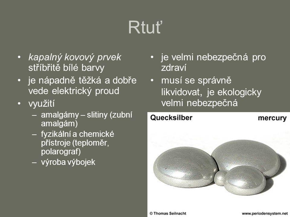 Titan šedý až stříbřitě bílý, lehký kov je poměrně tvrdý a mimořádně odolný proti korozi využití –výroba barevných pigmentů (titanová běloba) –výroba speciálních odolných slitin (letectví a kosmonautika) –kloubní náhrady –šperkařství