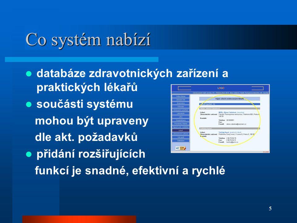 5 Co systém nabízí databáze zdravotnických zařízení a praktických lékařů součásti systému mohou být upraveny dle akt.