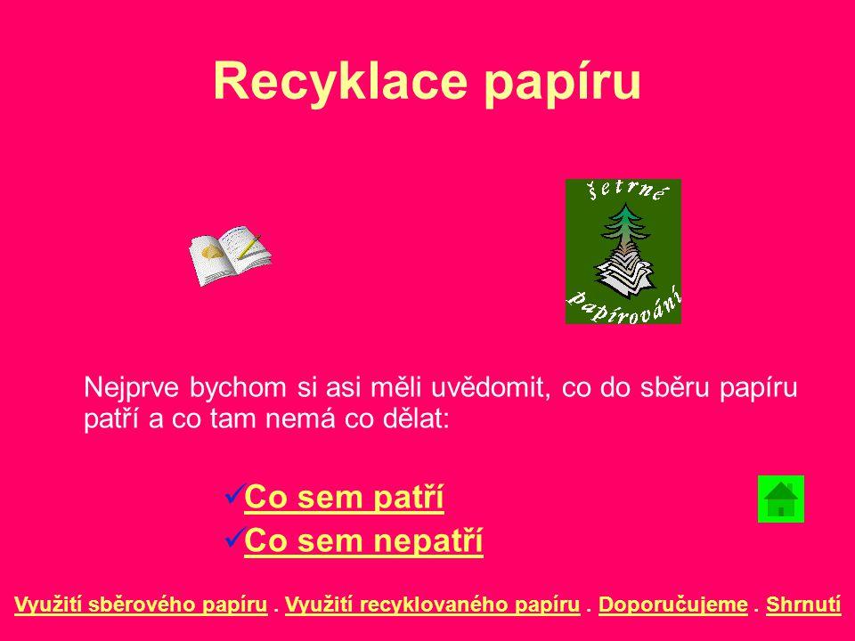 Recyklace papíru Nejprve bychom si asi měli uvědomit, co do sběru papíru patří a co tam nemá co dělat: Co sem patří Co sem nepatří Využití sběrového p