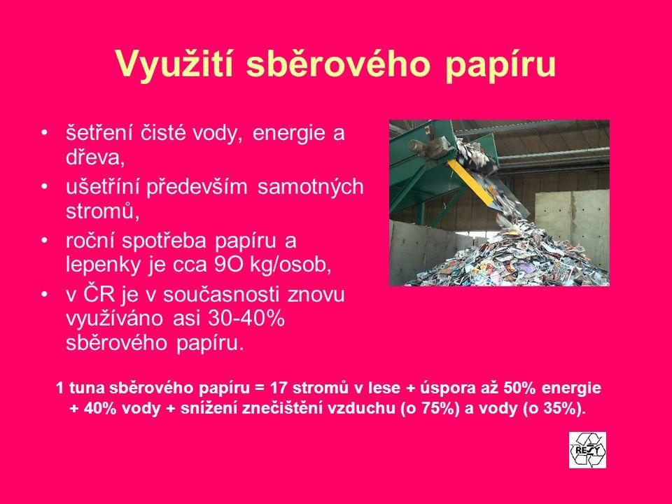 Využití sběrového papíru šetření čisté vody, energie a dřeva, ušetříní především samotných stromů, roční spotřeba papíru a lepenky je cca 9O kg/osob,