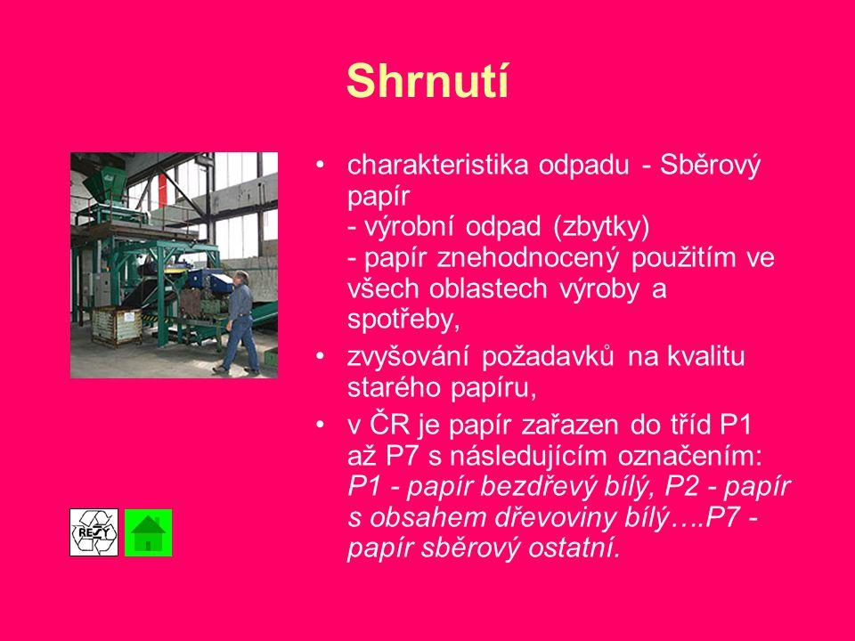 Shrnutí charakteristika odpadu - Sběrový papír - výrobní odpad (zbytky) - papír znehodnocený použitím ve všech oblastech výroby a spotřeby, zvyšování