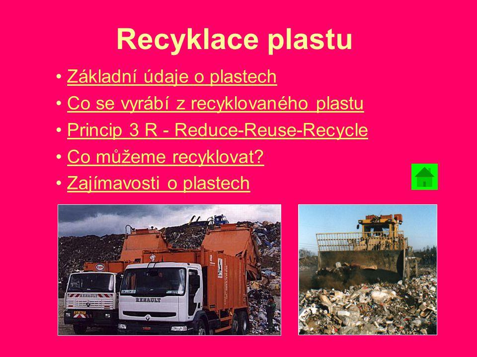 Recyklace plastu Základní údaje o plastech Co se vyrábí z recyklovaného plastu Princip 3 R - Reduce-Reuse-Recycle Co můžeme recyklovat? Zajímavosti o