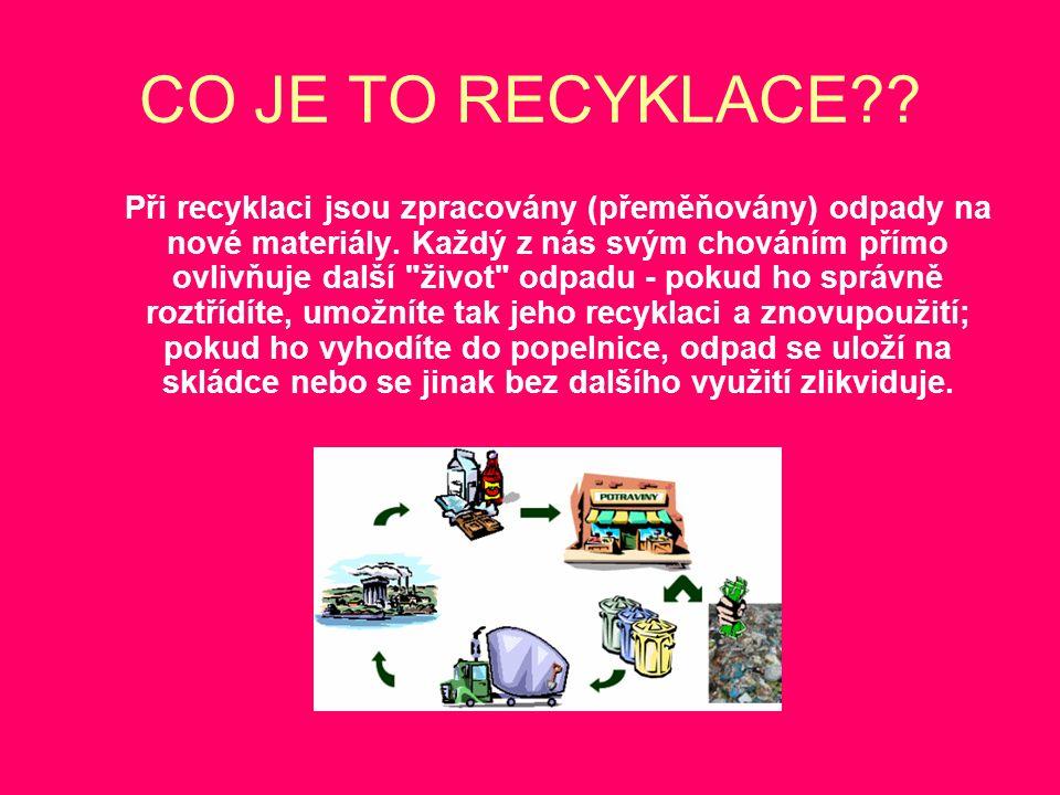 CO JE TO RECYKLACE?? Při recyklaci jsou zpracovány (přeměňovány) odpady na nové materiály. Každý z nás svým chováním přímo ovlivňuje další
