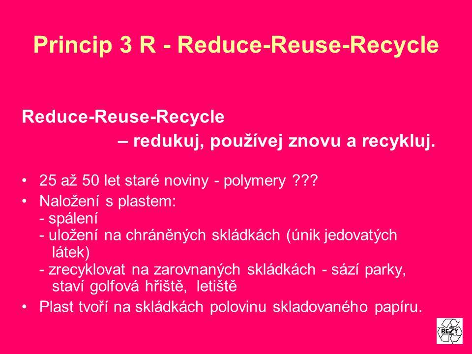 Princip 3 R - Reduce-Reuse-Recycle Reduce-Reuse-Recycle – redukuj, používej znovu a recykluj. 25 až 50 let staré noviny - polymery ??? Naložení s plas