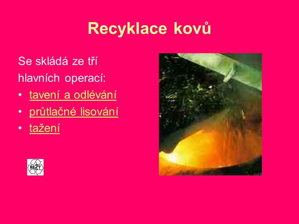 Recyklace kovů Se skládá ze tří hlavních operací: tavení a odlévání průtlačné lisování tažení