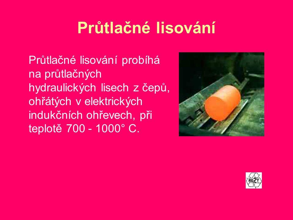 Průtlačné lisování Průtlačné lisování probíhá na průtlačných hydraulických lisech z čepů, ohřátých v elektrických indukčních ohřevech, při teplotě 700