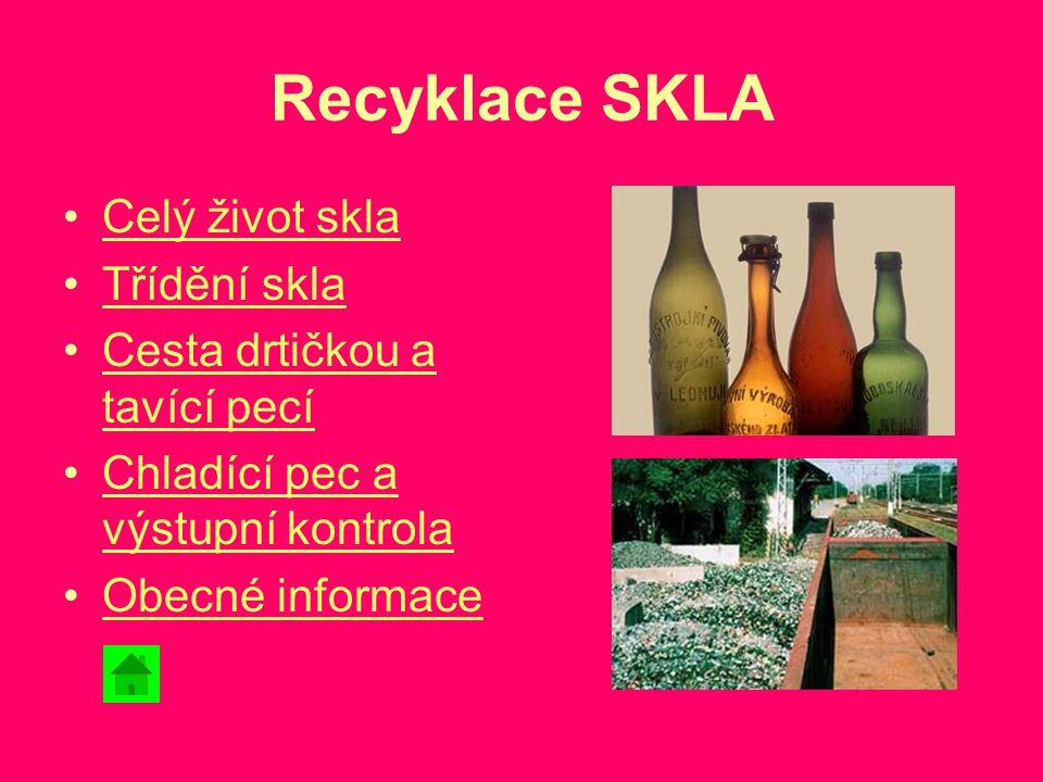 Recyklace SKLA Celý život skla Třídění skla Cesta drtičkou a tavící pecíCesta drtičkou a tavící pecí Chladící pec a výstupní kontrolaChladící pec a vý