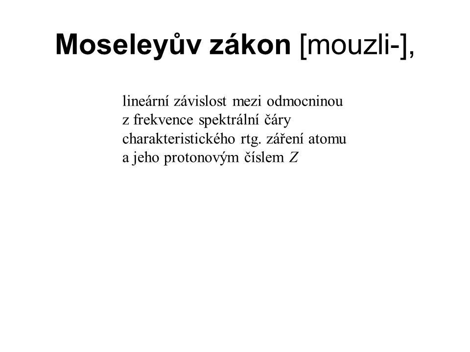 Moseleyův zákon [mouzli-], lineární závislost mezi odmocninou z frekvence spektrální čáry charakteristického rtg.