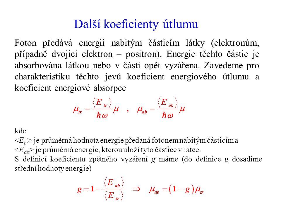 Další koeficienty útlumu Foton předává energii nabitým částicím látky (elektronům, případně dvojici elektron – positron).