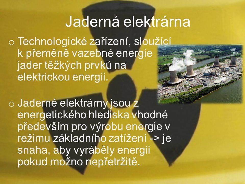 Jaderná elektrárna o Technologické zařízení, sloužící k přeměně vazebné energie jader těžkých prvků na elektrickou energii. o Jaderné elektrárny jsou