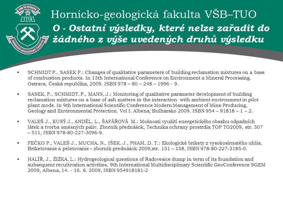 Hornicko-geologická fakulta VŠB–TUO O - Ostatní výsledky, které nelze zařadit do žádného z výše uvedených druhů výsledku SCHMIDT P., SASEK P.: Changes