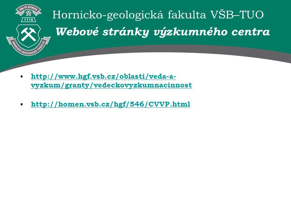 Hornicko-geologická fakulta VŠB–TUO Webové stránky výzkumného centra http://www.hgf.vsb.cz/oblasti/veda-a- vyzkum/granty/vedeckovyzkumnacinnost http:/