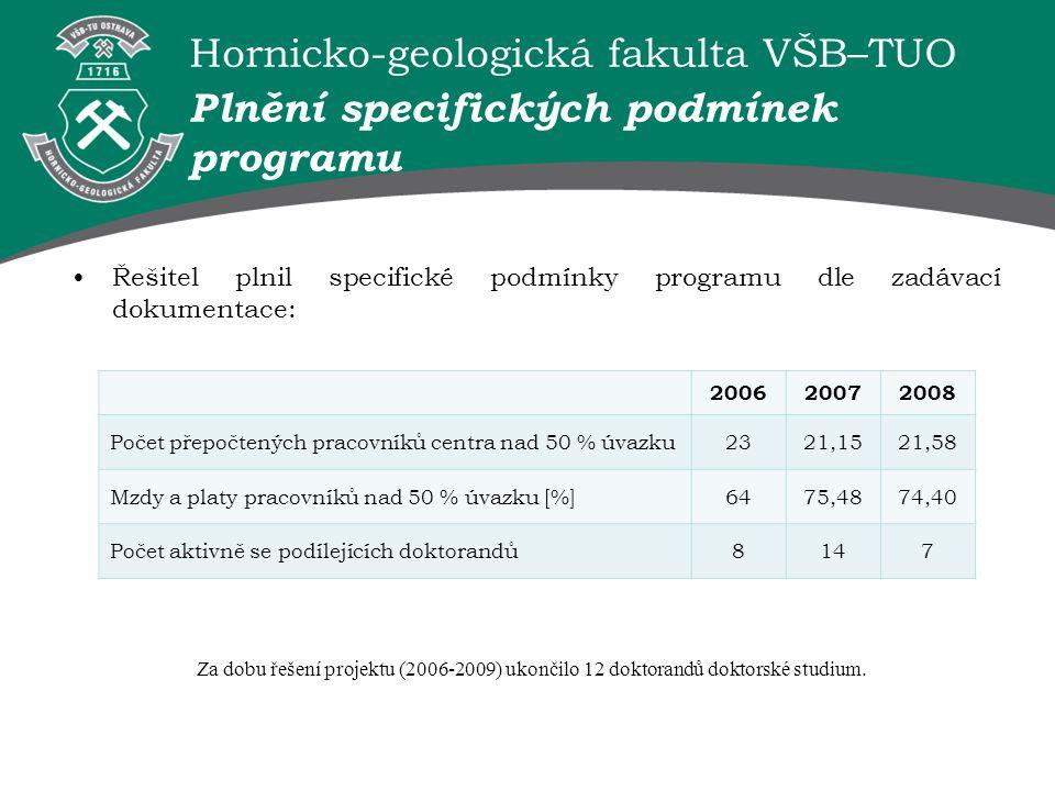 Hornicko-geologická fakulta VŠB–TUO Plnění specifických podmínek programu 200620072008 Počet přepočtených pracovníků centra nad 50 % úvazku2321,1521,5