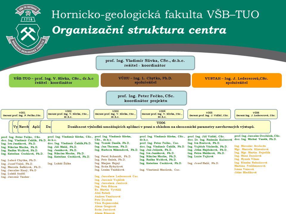 Hornicko-geologická fakulta VŠB–TUO Organizační struktura centra prof. Ing. Vladimír Slivka, CSc., dr.h.c. rešitel - koordinátor VŠB-TUO – prof. Ing.