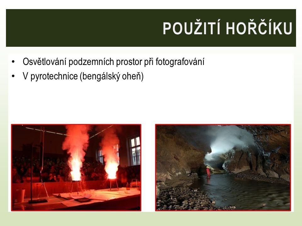 Osvětlování podzemních prostor při fotografování V pyrotechnice (bengálský oheň)