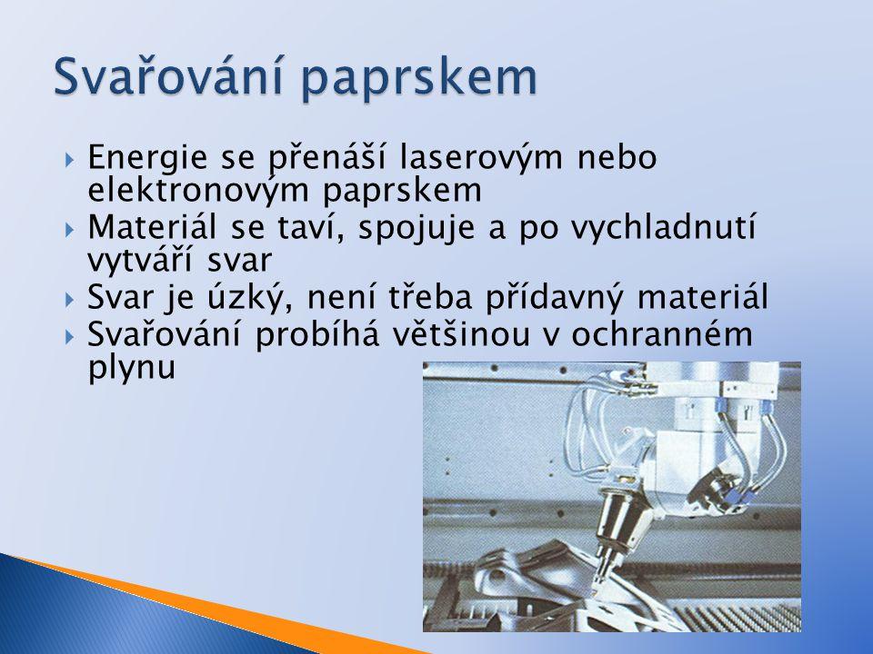  Energie se přenáší laserovým nebo elektronovým paprskem  Materiál se taví, spojuje a po vychladnutí vytváří svar  Svar je úzký, není třeba přídavný materiál  Svařování probíhá většinou v ochranném plynu