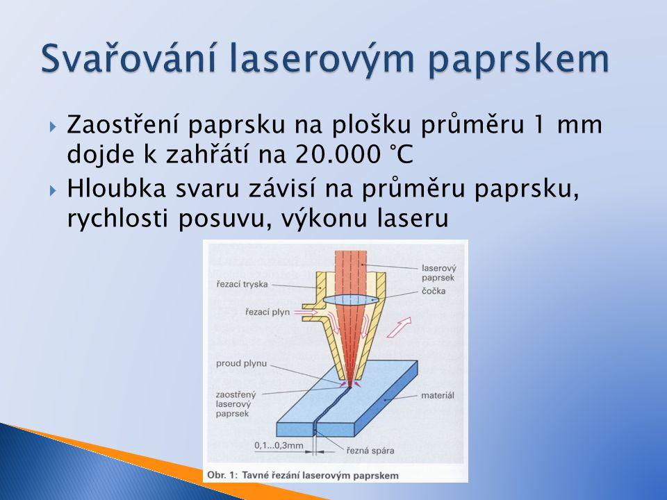  Zaostření paprsku na plošku průměru 1 mm dojde k zahřátí na 20.000 °C  Hloubka svaru závisí na průměru paprsku, rychlosti posuvu, výkonu laseru