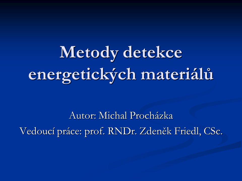 Metody detekce energetických materiálů Autor: Michal Procházka Vedoucí práce: prof. RNDr. Zdeněk Friedl, CSc.