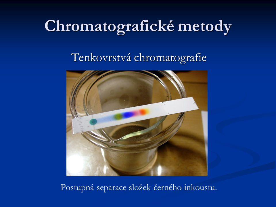 Chromatografické metody Tenkovrstvá chromatografie Postupná separace složek černého inkoustu.