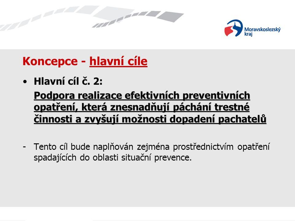 Koncepce - hlavní cíle Hlavní cíl č. 2: Podpora realizace efektivních preventivních opatření, která znesnadňují páchání trestné činnosti a zvyšují mož