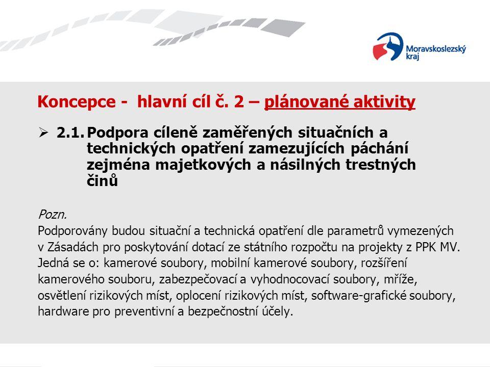 Koncepce - hlavní cíl č. 2 – plánované aktivity  2.1.Podpora cíleně zaměřených situačních a technických opatření zamezujících páchání zejména majetko
