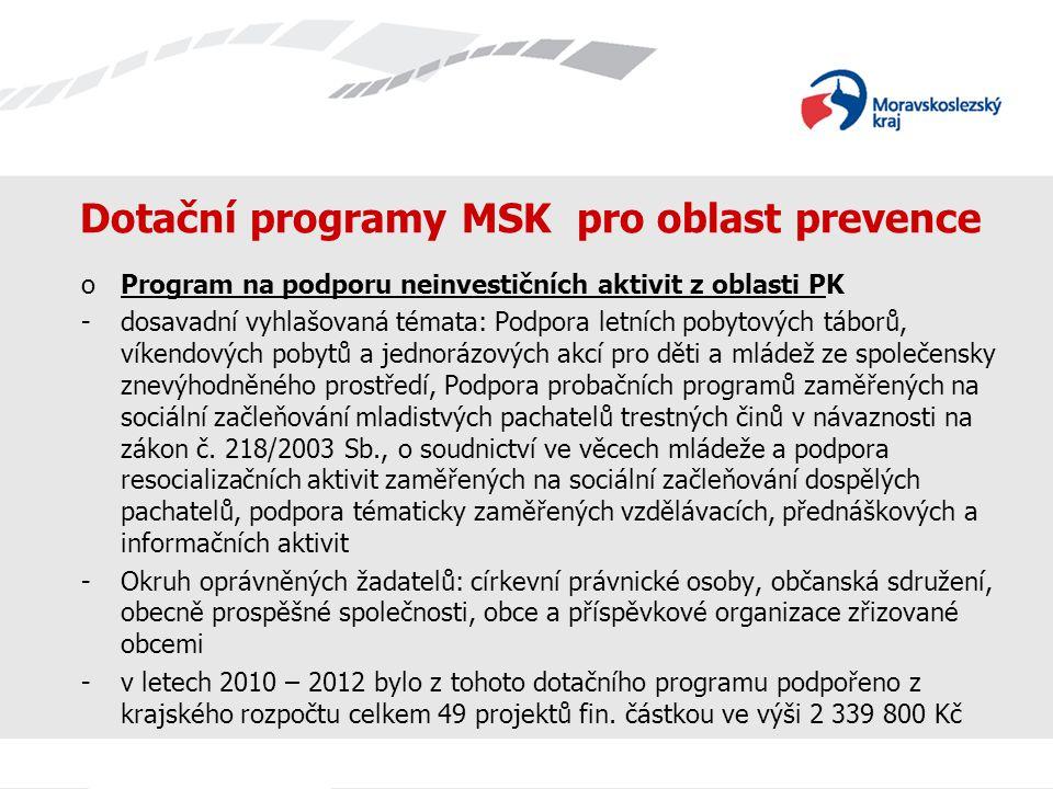 Dotační programy MSK pro oblast prevence oProgram na podporu neinvestičních aktivit z oblasti PK -dosavadní vyhlašovaná témata: Podpora letních pobyto