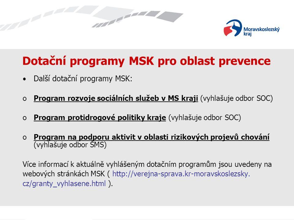 Dotační programy MSK pro oblast prevence Další dotační programy MSK: oProgram rozvoje sociálních služeb v MS kraji (vyhlašuje odbor SOC) oProgram prot