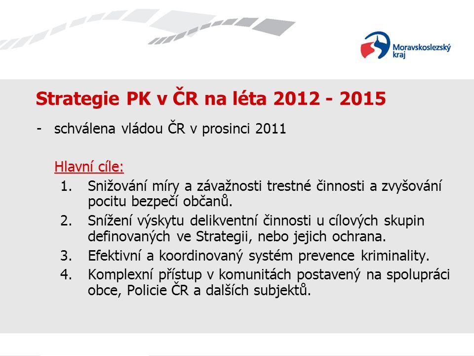 Strategie PK v ČR na léta 2012 - 2015 Hlavní priority: oSnižování míry a závažnosti trestné činnosti a zvyšování pocitu bezpečí občanů, včetně oslabování rizikových faktorů, které přispívají k výskytu protiprávního jednání.