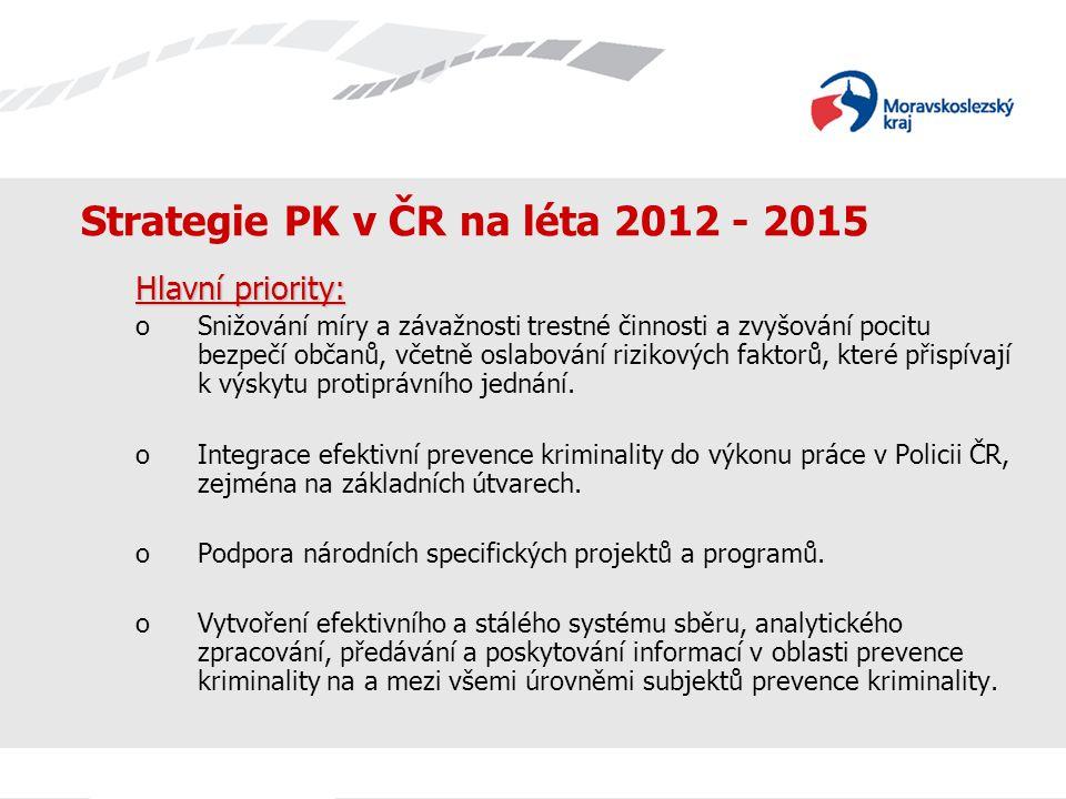 Strategie PK v ČR na léta 2012 - 2015 Hlavní priority: oSnižování míry a závažnosti trestné činnosti a zvyšování pocitu bezpečí občanů, včetně oslabov