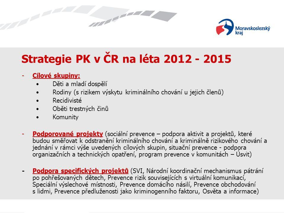 Strategie PK v ČR na léta 2012 - 2015 -Cílové skupiny: Děti a mladí dospělí Rodiny (s rizikem výskytu kriminálního chování u jejich členů) Recidivisté