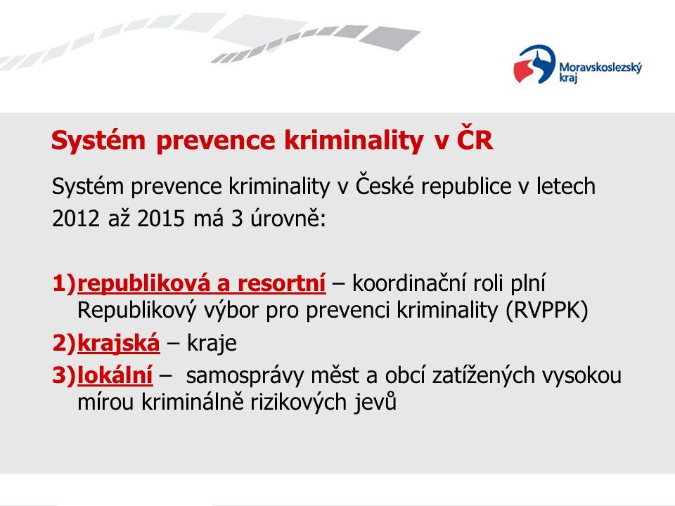 Systém prevence kriminality v ČR Systém prevence kriminality v České republice v letech 2012 až 2015 má 3 úrovně: 1)republiková a resortní – koordinač
