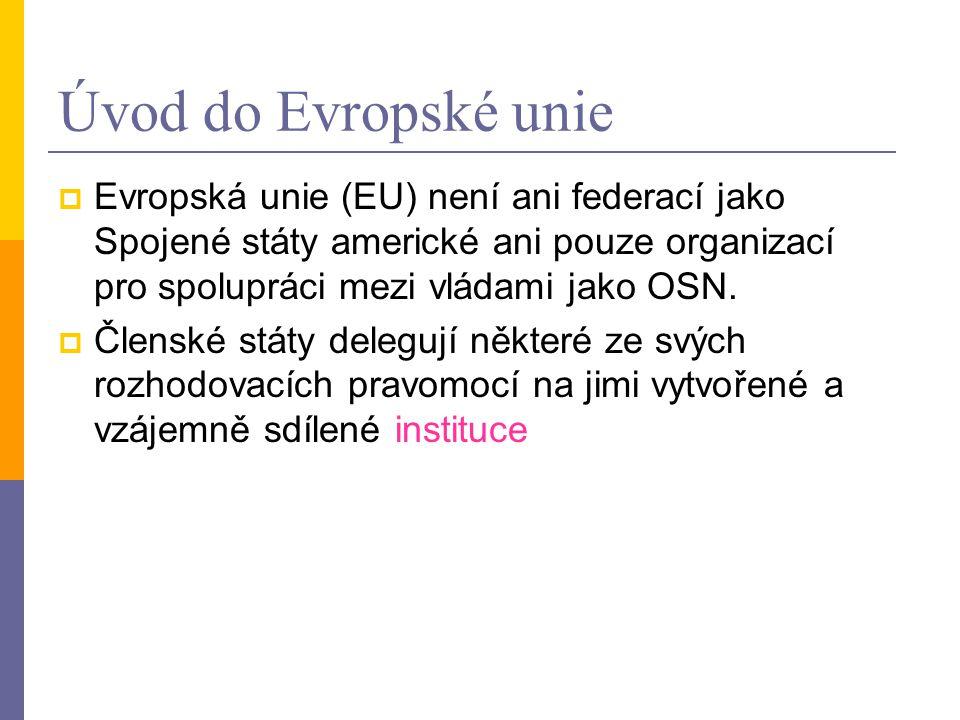 Úvod do Evropské unie  Evropská unie (EU) není ani federací jako Spojené státy americké ani pouze organizací pro spolupráci mezi vládami jako OSN.