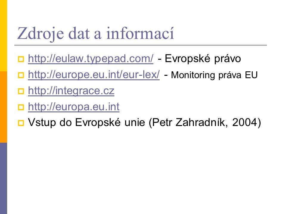 Zdroje dat a informací  http://eulaw.typepad.com/ - Evropské právo http://eulaw.typepad.com/  http://europe.eu.int/eur-lex/ - Monitoring práva EU http://europe.eu.int/eur-lex/  http://integrace.cz http://integrace.cz  http://europa.eu.int http://europa.eu.int  Vstup do Evropské unie (Petr Zahradník, 2004)