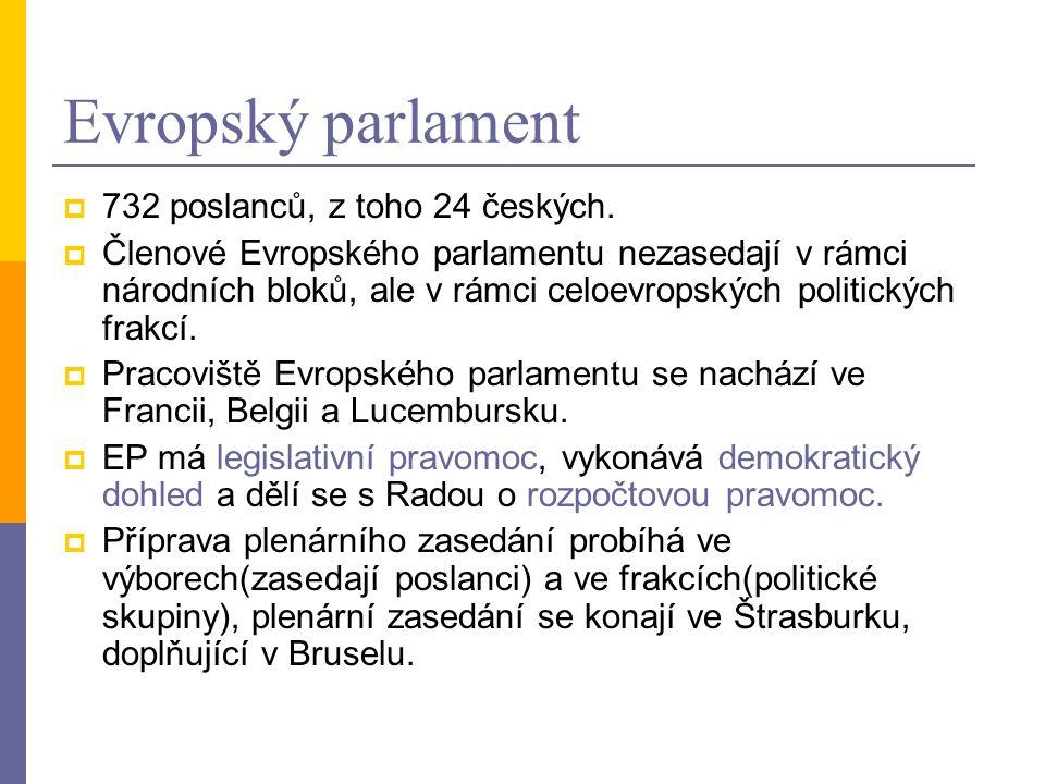 Evropský parlament  732 poslanců, z toho 24 českých.
