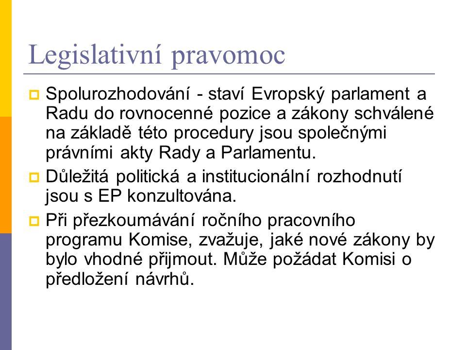 Legislativní pravomoc  Spolurozhodování - staví Evropský parlament a Radu do rovnocenné pozice a zákony schválené na základě této procedury jsou společnými právními akty Rady a Parlamentu.