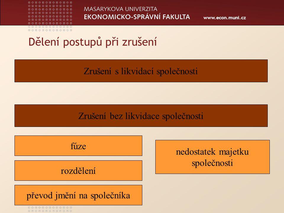 www.econ.muni.cz Pojem likvidace, její zahájení a ukončení Likvidace je proces, jehož cílem je vypořádání majetkových poměrů společnosti.