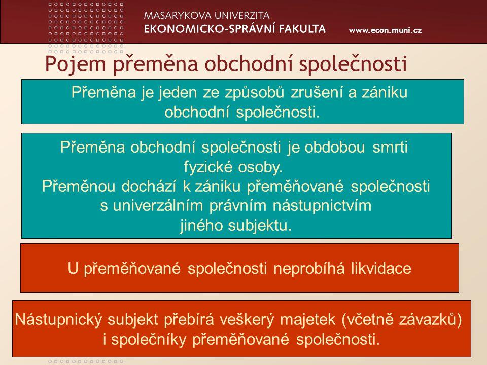 www.econ.muni.cz Pojem přeměna obchodní společnosti Přeměna obchodní společnosti je obdobou smrti fyzické osoby.