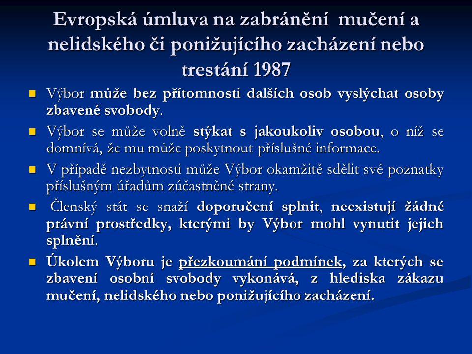 Evropská úmluva na zabránění mučení a nelidského či ponižujícího zacházení nebo trestání 1987 Výbor může bez přítomnosti dalších osob vyslýchat osoby