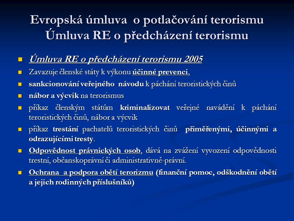 Evropská úmluva o potlačování terorismu Úmluva RE o předcházení terorismu Úmluva RE o předcházení terorismu 2005 Úmluva RE o předcházení terorismu 200